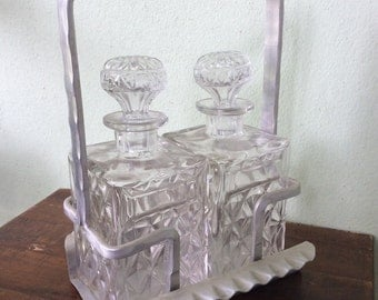 Mid Century Cut Glass Decanters and metal carrier, Scotch and Bourbon decanter pair, hammered metal holder, retro, kitschy 60s barware