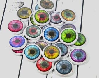 "20 Eyeball Pin Back Badges, 1"" Pinbacks, Fun Eyeball Buttons, Halloween Party Favors, Zombie Eyes Zipper Pulls"