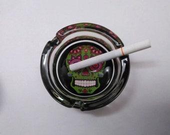 Sugar skull ashtray, Day of the dead skull ashtray.