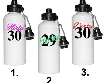 Personalized thirty water bottle, tumbler, travel mug, DISHWASHER SAFE, PERMANENT