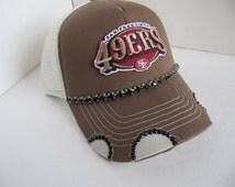 San Francisco 49er, SF 49er Trucker Hat, SF, 49er, Football Team,  Bling Trucker Hat, Spirt Hat, Womens Hat, Sworovski Crystal Hat