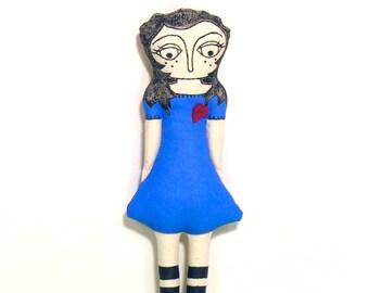 Alice in Wonderland OOAK Hand Painted Doll - Love Alice Red Heart Doll - Unique Handmade Art Doll - OOAK Rag Doll - Stuffed Ornamental Doll