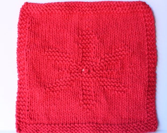 Knit Dishcloth, Snowflake Red Dishcloth, Christmas Knit Gift, Wedding Party Favors, Red Snowflake Washcloth, Kitchen Dish Rag, Hostess Gift