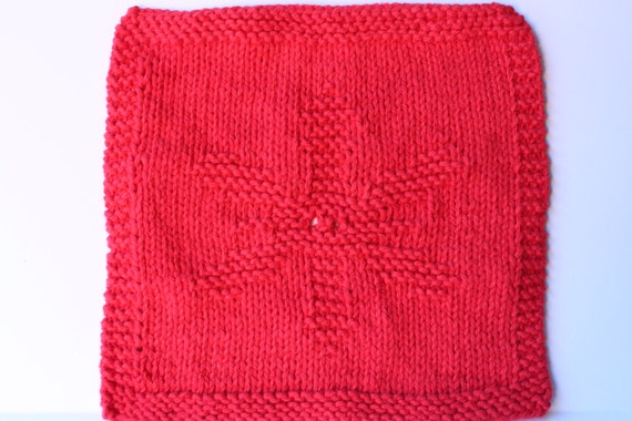 Knit Dishcloth Snowflake Red Dishcloth Christmas Knit Gift