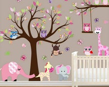 LARGE Baby Nursery Woodland Wall Decal, Baby Girl Wall Decal, Children Wall Decals,