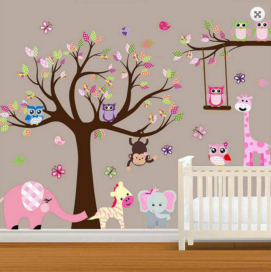 large baby nursery woodland wall decal baby girl wall decal. Black Bedroom Furniture Sets. Home Design Ideas