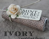 """Personalized """"Mint to be"""" tags and rose embellishments"""