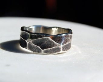 MODERN HAMMERED SILVER Ring Band -  Fine Silver ring - Architectural  - Wide Ring Band-Textured Band - Wedding Band - For Men and Women