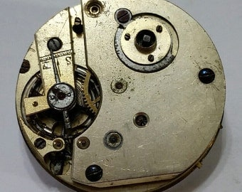 Antique, Key Wind, Gilt, Pocket Watch, Movement, Steampunk, Altered Art, Assemblage, Jewelry, Beading, Supply, Supplies