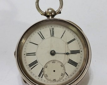 19th Century Gilt Key Wind Fusee Pocket Watch Movement in Sterling Silver Case - Repair or Steampunk - not working