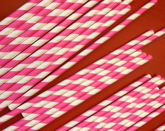 25 Hot Pink Striped Paper Straws