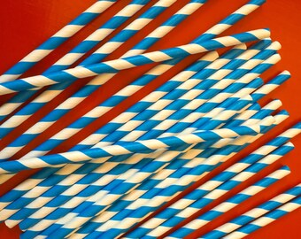 25 Blue Striped Paper Straws