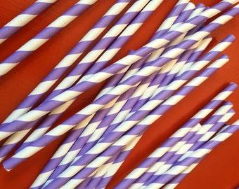 25 purple Striped Paper Straws