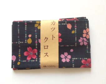 Japanese cotton fabric, sakura fabric, japanese trahitional sakura pattern fabric, DIY fabric, patchwork, FREE SHIPPING, 50cm x 54cm,