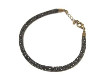 Chirimen cord Bracelet, Japanese fabric cord Bracelet, black, black Bracelet, free shipping, gift ideas