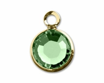 57700 PERIDOT 8pcs Swarovski Crystal Channel Drops Gold Plated One Loop - August Birthstone Charms