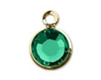 57700 EMERALD 8pcs Swarovski Crystal Channel Drops Gold Plated One Loop - May Birthstone Charms