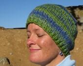 Handspun, Handpainted & Hand Knit Wool Beanie - Thick and Warm - Wild Iris