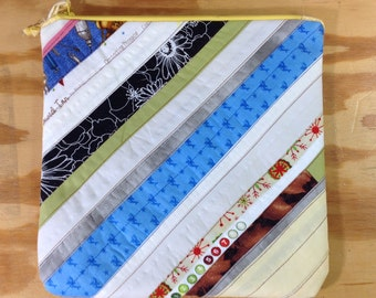 Handmade quilted zipper pouch