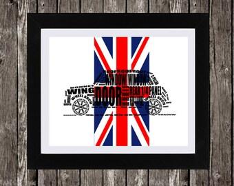 "Classic Mini Cooper Art, Instant Download, Union Jack Flag, British Flag Background, MINI Cooper decor, Typography, 14 x 11"""
