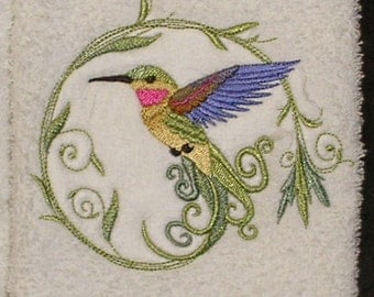 Pair of hand towels - Breezy Spring Hummingbird - EMBROIDERED 15 x 25 inch for kitchen / bath