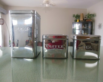 Mid Century Kitchen KREAMER WEAR  Chrome Metal Canister Set OF 3 1950s