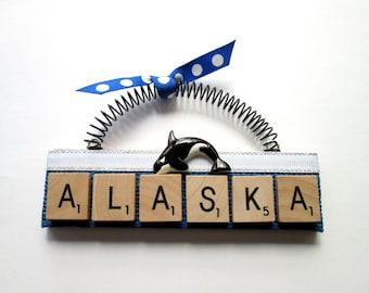 Alaska Orcas Whales Scrabble Tile Ornament