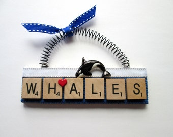 Whales Orcas Love Whales Scrabble Tile Ornament