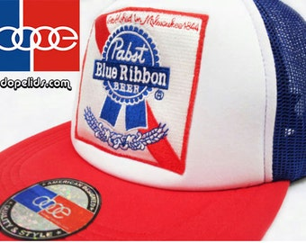 smART-patches Vintage Style Pabst Blue Ribbon PBR Patch Trucker Cap Hat 70's 80's