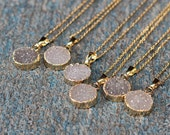 SALE Round Agate Druzy Necklace Handmade Drusy Geode Necklace wedding party birthday jewelry DJ-1