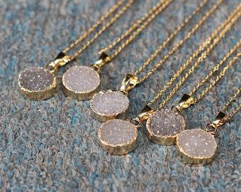 SALE Round Agate Druzy Necklace Handmade Drusy Geode Necklace wedding party birthday jewelry druzzy DJ-1