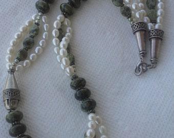Vintage handmade sterling silver necklace fresh water pearls,  serpentine