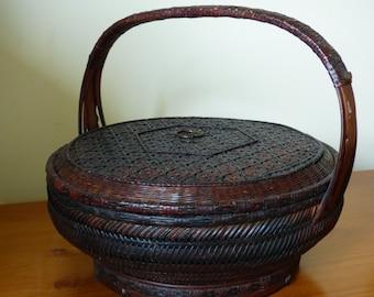 Vintage Lidded Chinese Sewing Basket