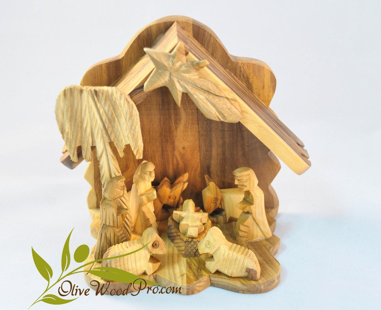Wooden Hand Carved Nativity Sets ~ Olive wood hand carved christmas tree nativity holy family set