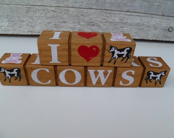 wood block letters i heart cows bears pigs dolls