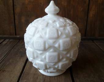 Vintage Milk Glass Covered Candy Dish Bowl