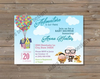 UP Baby Shower or Birthday Invitation,Diaper Raffle,Book Insert,Thank You Card, disney inspired, customizable,digital file or printed option