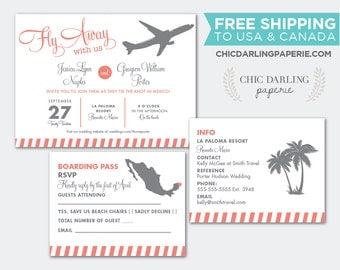 Free Shipping PRINTED or DIGITAL Destination Wedding Invitation Set, Customize Colors!