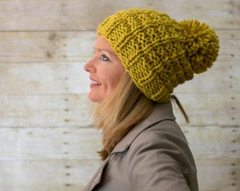 Soft Wool Chunky Knit Slouchy Hat, Knit Pom Pom Hat, Knit Hat / LADDERS POMPOM HAT / Gold Yellow  - Ready to Ship