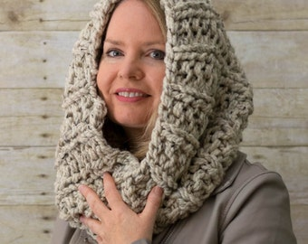 Soft Wool Chunky Knit Snood, Chunky Knit Cowl, Infinity Scarf, Chunky Knit Circle Scarf, Tan, Oatmeal - Ready to Ship