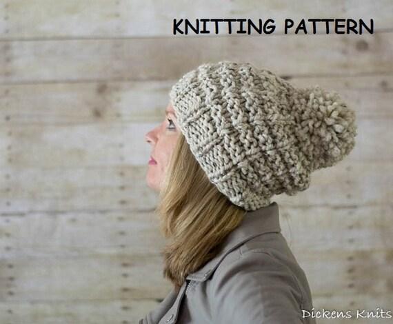 Pom Pom Beanie Knitting Pattern : PDF KNITTING PATTERN Chunky Pom Pom Beanie Knitting Pattern