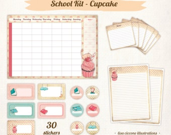 BACK TO SCHOOL - Kit: labels for notebooks and books, weekly planner, notes, prints, children illustrations
