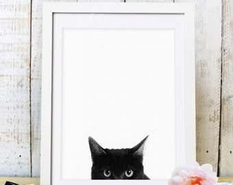 30% OFF SALE Printable Black Cat, Cat Print, Cat Art, Cat Decor, Wall Decor, Instant Download, Black White Cat, Black, Nursery Decor