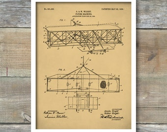 Wright Brother's Airplane Patent Print, Wright Brother's Airplane Poster, Wright Brother's Decor, Wright Brother's Airplane Art, P204