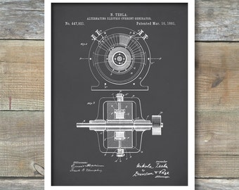 Patent Print, Tesla Alternating Current Generator, Tesla Wall Art, Tesla Print, Tesla Patent, Tesla Poster, P208