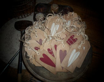 Primitive Homespun Heart Hang Tags~Cupboard Tucks~Bowl Fillers~Prim Gathering!