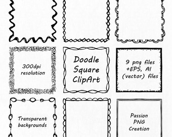 Doodle Square Clipart, Hand drawn Square Frames Clip art, PNG, EPS, AI, Vector, foursquare, quadrate Borders, Personal and Commercial Use
