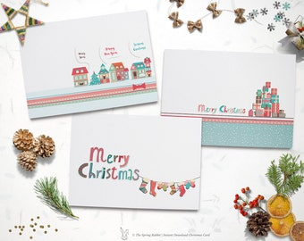 Printable Set of 3 Christmas Cards - Holiday Card - Do it yourself Printable Christmas Card - INSTANT DOWNLOAD