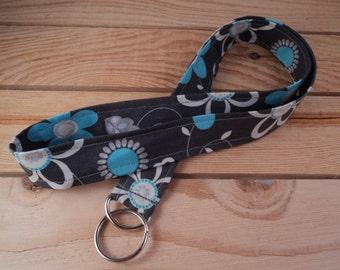 Fabric Lanyard - Dark Grey with Sky Blue Flowers
