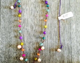 hand made necklace with semi precious gems